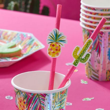 Tropical Hot Summer Paper Straws - pack of 16